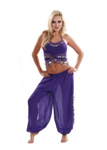 missbellydance Bauchtanz Kostüm-Set | Harem Pants & Tank Top Kostüm-Set, Purple/Silver, ()