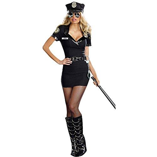 dPois Damen Sexy Polizei Kostüm 5 Pcs Polizistin Uniform Kostüm Frauen Clubwear Nachtclub Kostüm für Cosplay Karneval Halloween Fasching Party Schwarz One_Size (Frauen Kostüm Polizistin)