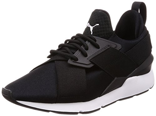 Puma Damen Muse Satin EP Wn's Sneakers, Schwarz Black White), 41 EU (Satin Schwarz)