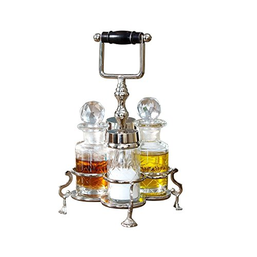 Menage (Loberon Menage Fayetteville, Messing/Glas, H/Ø ca. 22/14 cm, klar/silber)
