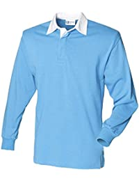 Front Row Herren Rugby-Shirt, langärmelig, aus Baumwolle, klassisch