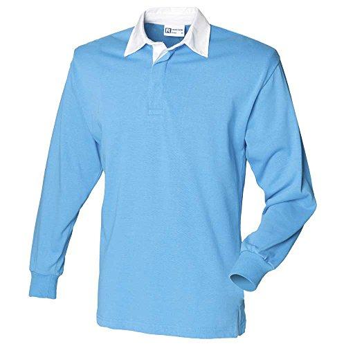 Front Row Herren Rugby-Shirt, langärmelig, aus Baumwolle, klassisch L Blau - Surf Blue/White (Sweatshirt Royal Klassisches Blue)
