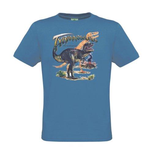 Ethno Designs Kinder T-Shirt Tyrannosaurus Rex regular fit, Größe 122/128, azure (Rex Tyrannosaurus Größe)