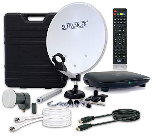 SCHWAIGER -9604- Camping-Sat-Anlage digital komplett / Camping-Zubehör / Camping Satelitenschüssel / Sat Koffer / Single LNB / Sat Receiver HD / Satelliten-Kabel 10 m / Sat Antenne Stahl, 35 x 38 cm