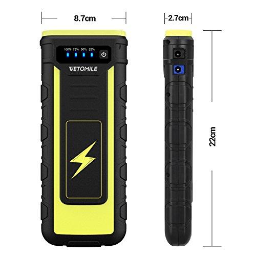 VETOMILE Arrancador de Coche 21000mAh 800A, Jump Starter para Coches,  Motos etc,  Arranque hasta 6.5L Gas o 3.0L Diesel,  Batería 12V (Dual USB Salidas, Linterna LED, Pinzas Inteligentes con Protecciones)