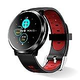 Smartwatch Fitness Tracker,HopoFit HF04 Smart Watch Armband mit Pulsmesser Schlafmonitor,IP67 Wasserdicht Schrittzähler,SMS-Erinnerung Bluetooth Aktivitätstracker Herren Damen, für Android iOS(red)