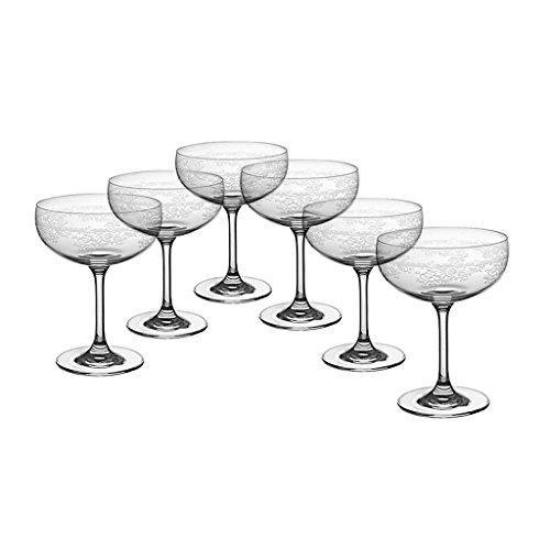6 X Sektschalen Champagnerschalen Panto Transparent Pantographie Kristallglas