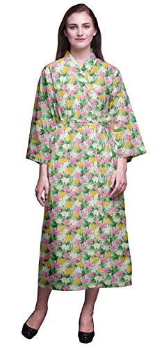 Bimba Pastell-Minze Blumen- Blätter & Lotus Bedruckte Crossover-Roben Brautjungfer Immer bereit Shirt Kleider Bademäntel für Frauen XL - Minze Kleid Shirt Frauen