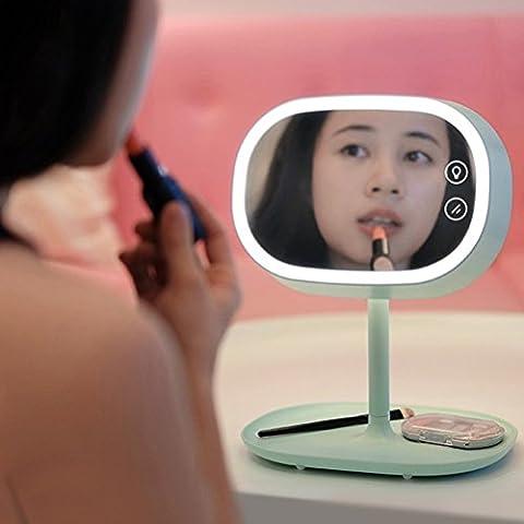AMMBER iluminado maquillaje espejo con lámpara de sobremesa para el hogar dormitorio, inteligente espejo de maquillaje con Touch Sensor LED luz de noche para las mujeres (Verde,