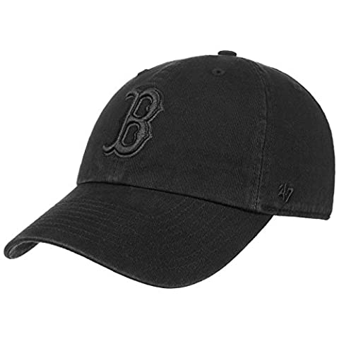 47 Brand RGW02GWSNL Clean Up Strapback BOSTON RED SOX Schwarz Schwarz, Size:ONE SIZE