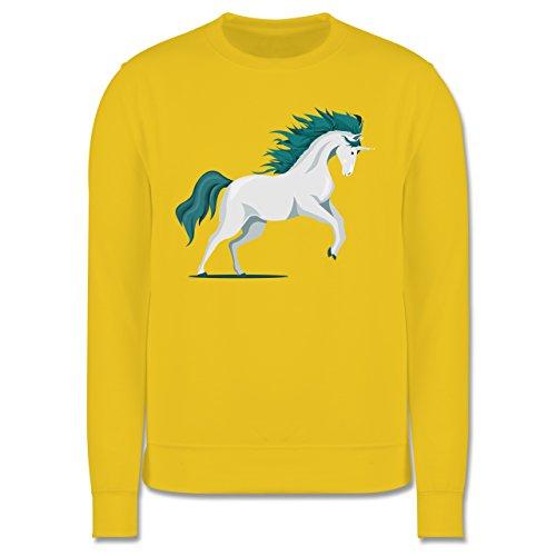 Pferde - steigendes Einhorn - Herren Premium Pullover Gelb