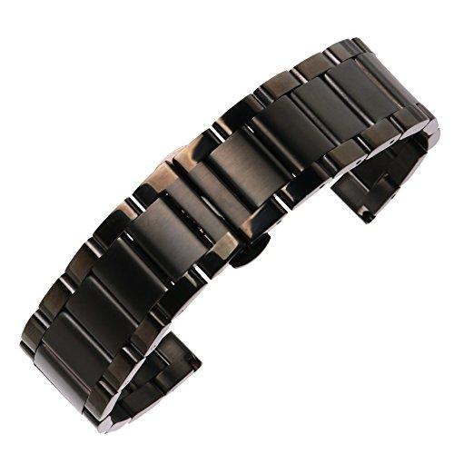 20mm Metallband Männer ss Uhr gebürstet in schwarz deluxe 304 Inox-Stahl Uhrgurt für Sportuhr zurück