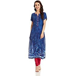 BIBA Women's Straight Synthetic Kurta (INDIGO12577_Indigo_42)