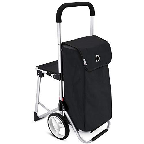 SEDD Einkaufstrolley mit Klappsitz und 42 Liter Einkaufstasche in schwarz - Einkaufswagen klappbar mit integriertem Sitz