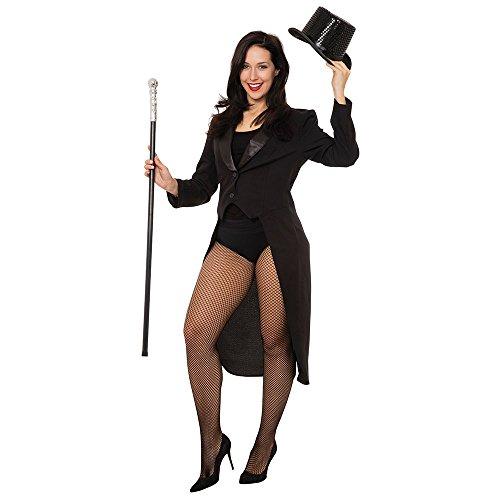 Chicago Halloween Party Kostüm - Bristol Novelty AC720 Frack für Damen, Schwarz (Medium)