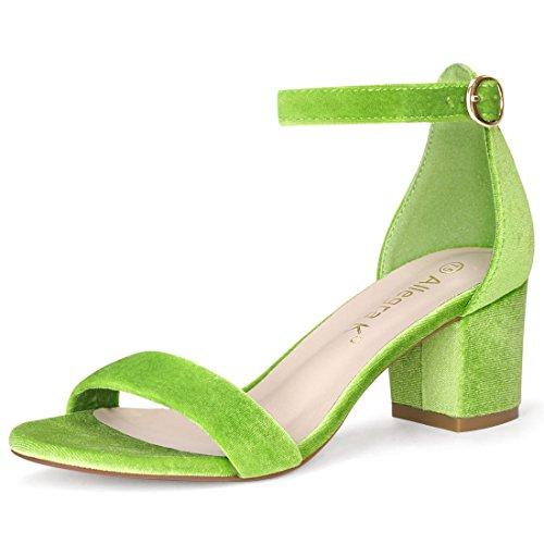 Allegra K Damen offene Zehen mittlere Blockabsatz Knöchel-Riemen Sandalen, Green-Velvet/EU 35.5 (Allegra Sommer Kleider)