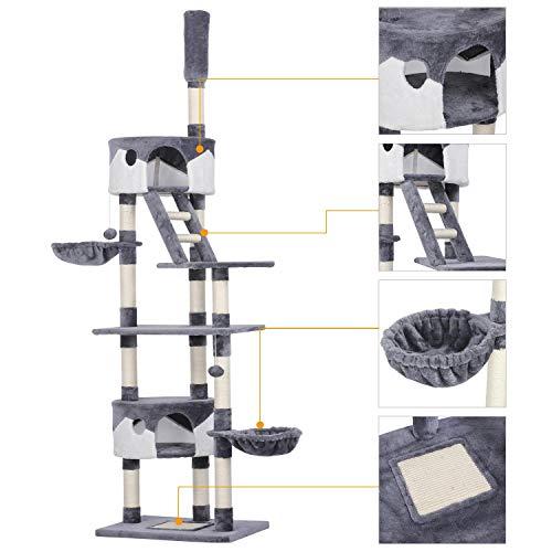 Yaheetech XXL Kratzbaum - Katzen Kletterbaum Höhe 227,5-254,5 cm, höhenverstellbar deckenhoch grau