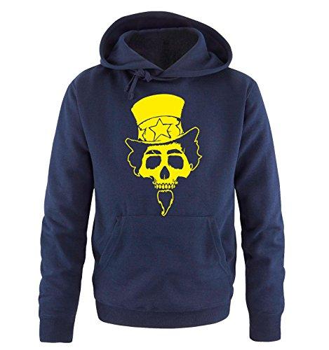 Comedy Shirts - AMERICAN SKULL - Uomo Hoodie cappuccio sweater - taglia S-XXL different colors blu navy / neon giallo
