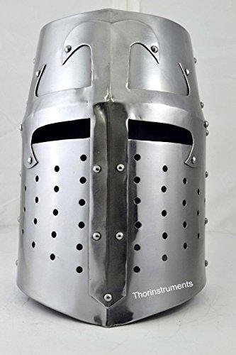 Thor Instrumente. CO Mittelalter Sugarloaf Crusader Helm Zuckerhut HELM Rolle spielen Kostüm chrom Finish