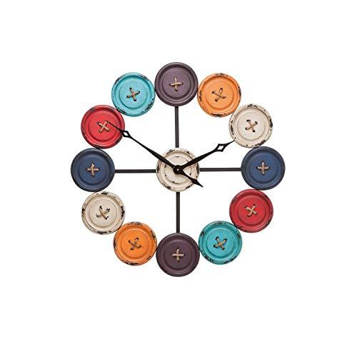 Kare 35304 Horloge Murale Boutons Accessoires, Acier Inoxydable, Noir, Blanc, Gris, Orange, Rouge, Bleu Clair, Bleu foncé, 3 x 80,5 x 80,5 cm