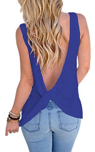ECOWISH Damen V Rückenfrei ärmellose Bluse Vest Tank Top Weste Damen T-Shirt