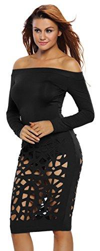La Vogue Combinaison Salopette Robe Dentelle Manche Longue Épaule Nue Femme Noir
