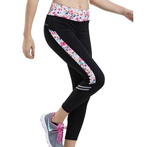 [pantalon corsaire sport]Legging sport femme Collant sportif légère transpirations couches respirantes - iiSport Noir