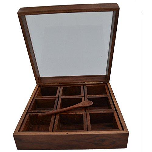 Stylla London Neuf Conteneur Boîte à épices avec Une cuillère et Couvercle Transparent, Bois, Marron, 11.1 x 10 x 3.82 cm