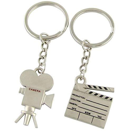 2 Stück Film Zwischenablage Kamera Schlüsselanhänger Ring ()