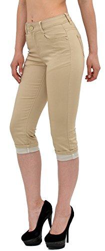 by-tex Damen Capri Hose Damen Caprihose Damen Jeans Capri bis Übergröße J242 J246-beige
