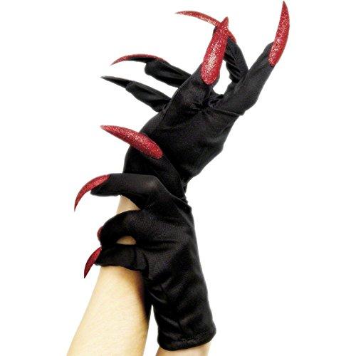 Hexenhandschuhe Halloween Handschuhe schwarz-rot Halloweenhandschuhe Damen Handschuh Hexenhände Hexen Kostüm ()