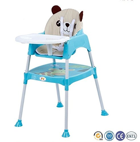 Baby High Chair BPA FREE / Adjustable Portable Space Saver Convertible 3-in-1 / Anti Skid (with cushion) (Blue) by Bey Bee