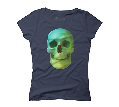 Anaglyph // Skull Women's Graphic T-Shirt - Design By Humans Navy