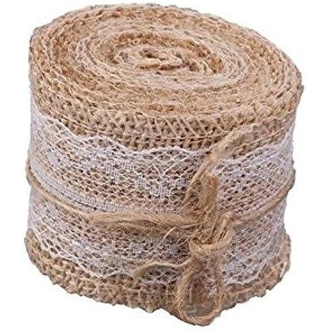 DegGod Naturali Iuta Nastro Bianco Di Pizzo Tela Rotolo Mestiere Per wedding Vintage Decorazione Domestica DIY Cucito Mestieri - Floreale Speranza Ribbon