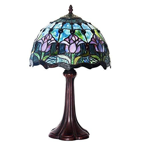 Blaue Tulpe Nachtlicht, Tiffany Stil Tischlampe, für Pastoral Restaurant Bar Arbeitszimmer Dekoration Schreibtischlampe 16 Zoll E27 -