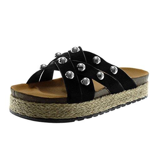 Angkorly Scarpe Moda Mules Sandali Slip-On Zeppe Donna Perla Borchiati Cinghie Incrociate Tacco Zeppa Piattaforma 4 cm Nero