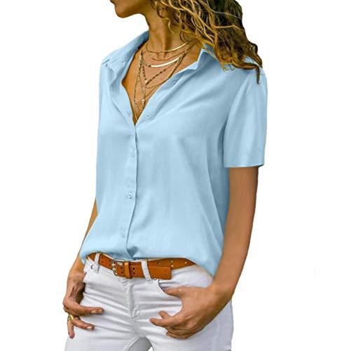 Damen Chiffon Kurzarm Blusen V Ausschnitt Mode T-Shirt Oberteile Elegant Hemd Top Einfarbig Kurzarm Bluse Casual Mode Knopf T-Shirt Tunika (M, BU) -