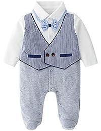 Yhjklm Set di Abiti da Neonato Tute per Bambini T-Shirt con Fiocco Blu con  Maniche Lunghe Pantaloni a Maniche Lunghe… 923e96701c4