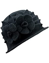 Gorros Mujeres Invierno Elegante Sombrero De Fieltro Sombrero De Pesca  Fácil De Igualar Cálido Flores Decorativas af2102fb1c1