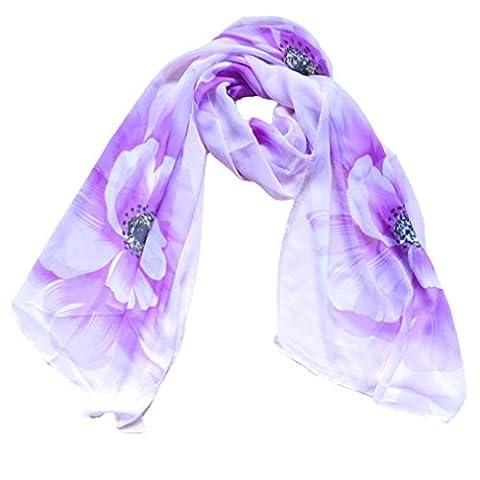 Clode® femmes Leopard style Wrap Lady Châle Écharpe en mousseline de soie (Violet)