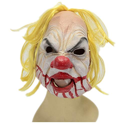 WHLMJ Latex Maske Halloween Make-Up Dekorative Accessoires Gelbes Haar Und Großer Mund. Maske