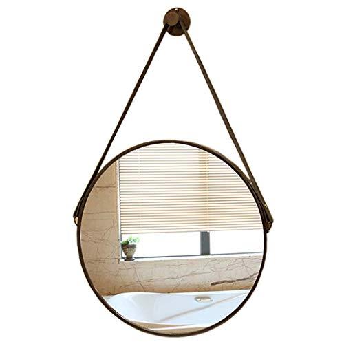 Schminkspiegel - Wand runder dekorativer Hängespiegel Bronze-Metallrahmen mit Lederschlinge Einfach und doch elegant Rasierspiegel für Eingangsbereiche Waschräume Wohnzimmer und mehr(50 cm) -
