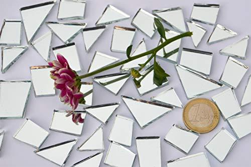 105g Spiegel- Mosaiksteine Formen-Mix 15-35mm silber, ca. 48 St. (Grundpreis: EUR 4,75 / 100g) -