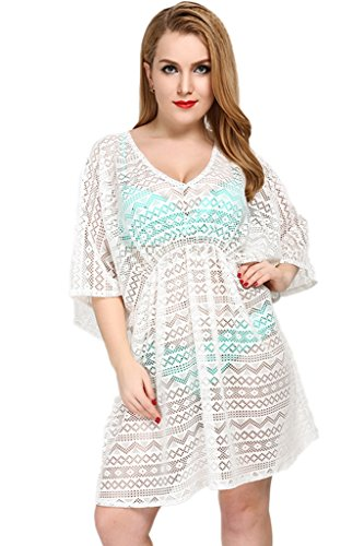 Cokar Swimsuit cover UPS per donne Plus Dimensioni bikini Coverups sarong pareo da spiaggia costumi da bagno White