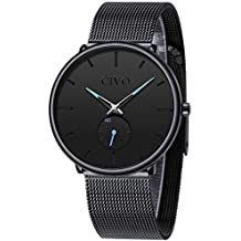 9d9e9c5987b0 CIVO Reloj Negro Ultra Fino para Hombre Minimalista Moda Relojes de Pulsera  para Hombres Vestir Casual