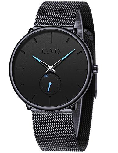 CIVO Herren Uhren Männer Ultradünne Minimalist Wasserdicht Armbanduhren Mode Luxus Elegant Geschäft Kleid Gents Quarz Uhr für Mann mit Edelstahl Mesh Armband (1 Schwarz/Mesh Armband)