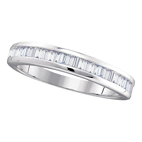 Diamond2Deal Herren Damen Unisex Kinder - 10 K 10-Karat-Weißgold Baguetteschliff Getöntes Weiß/Top Cape (K) Diamant