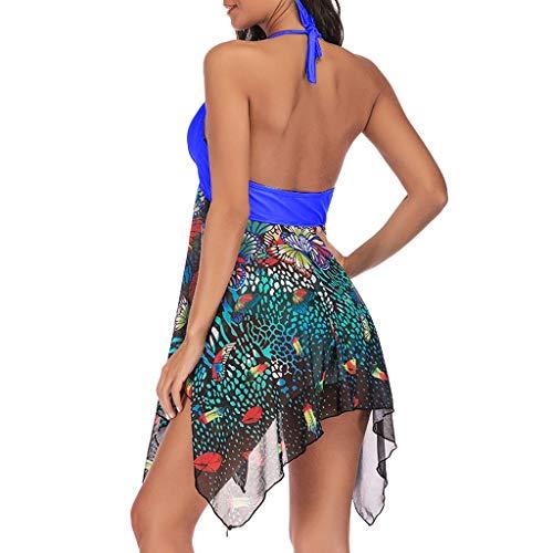 Damen Badeanzug, Tankini Floral Print Bademode Zweiteiliger Badeanzug Asymmetrisch Swimdress -