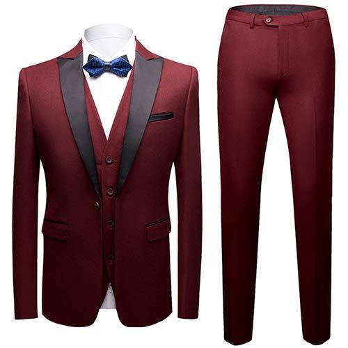 Tute da Uomo 3 Pezzi Slim Fit Wedding Suit Suit Tuxedo Giacca Formale Gilet Pantaloni