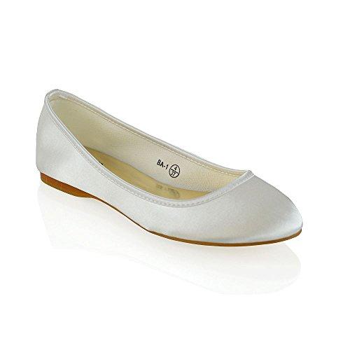 Essex glam donna nuziale ragazza di fiore avorio satinato ballerina scarpa eu 38
